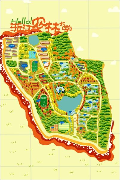 浙江农林大学手绘地图